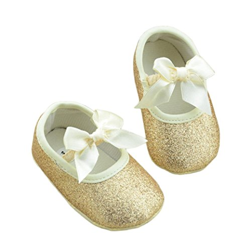 Sannysis Glitzer-Baby-Schuh-Turnschuh-Anti-Rutsch-weiche Sohle Kleinkind (12/6 ~ 12 Monate, Gold) (Schuhe Kleid Wohnungen)