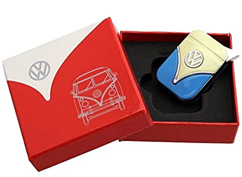 Official VW Camper Van Metal Refillable Gas Lighter in gift box - White + Blue