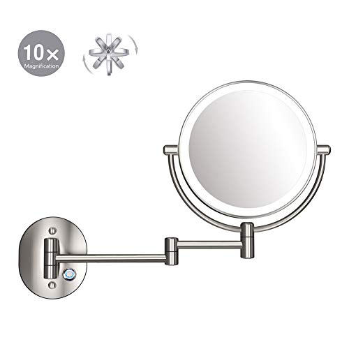 XNDCYX Espejo De Aumento De Pared con Luz LED, Extensible Doble Cara Giratoria De 360 ° Espejo De Maquillaje...