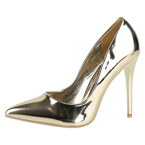 Spitze Damen Pumps High Heels Lack Stilettos Metallic Party Abschlussball Hochzeit Damen PUMPS Gold Oro 39
