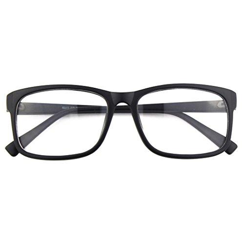 fake brille CGID CN12 Brille Extra Schmaler Rahmen! Slim Rechteck Nerd Clear Brille,Matte Schwarz