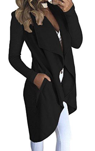 ECOWISH Damen Maxi Offene Cardigan Strickjacke Asymmetrisch Strickmantel Mantel mit Tasche Schwarz XL (Tasche Strickjacke)