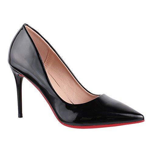 Elara Spitze Damen Pumps | Bequeme Lack Stilettos | Elegante High Heels | chunkyrayan E22370 Black-39