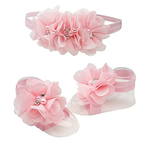 Petals Pink Baby Barefoot Sandal and Headband Set with Flower Accents by Cherished Moments