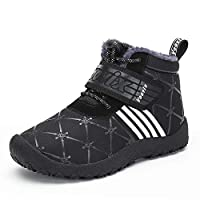 Voovix Boys Girls Winter Shoes Kids Snow Boots Warm Fur Lined Ankle Boots Water Resistant Winter Booties