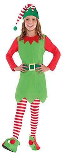 Karnevalsbud - Mädchen Weihnachtliches Kostüm, Elfe, Weihnachtshelferin, Grün, Größe 128-140, 8-10 Jahre