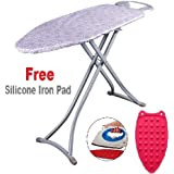 Branco Foldable Ironing Board/Ironing Table with Iron Holder with Free Silicon Iron pad - Metallic Grey