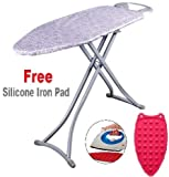 #7: Branco Foldable Ironing Board/Ironing Table with Iron Holder with Free Silicon Iron pad - Metallic Grey