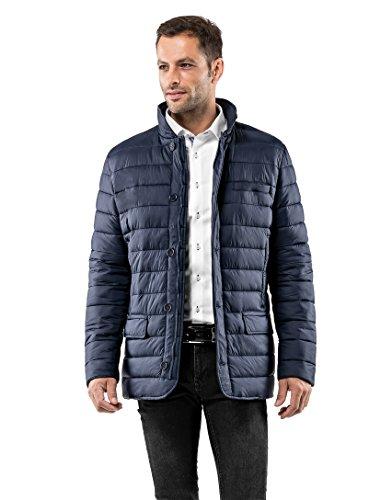 Vincenzo Boretti Herren Steppjacke im Blazer-Style Slim-fit tailliert Übergangs-Jacke leicht dünn weich warm gefüttert für Frühling Herbst modern elegant für Business Freizeit dunkelblau M -