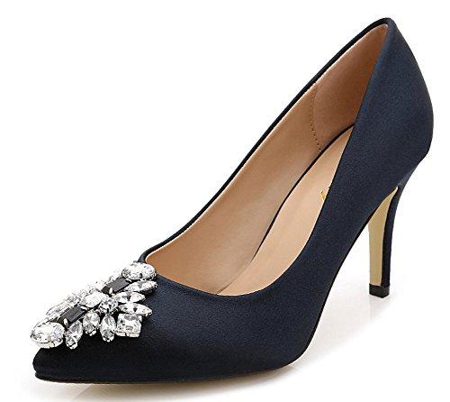 Aisun Senhoras Cetim Strass Pontas Salto Agulha Hocher Elegantes Sapatos Pretos