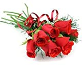 GlobalFlowerDelivery Fresh Rose Flower Bouquet (Bunch of 6, GFD 001)