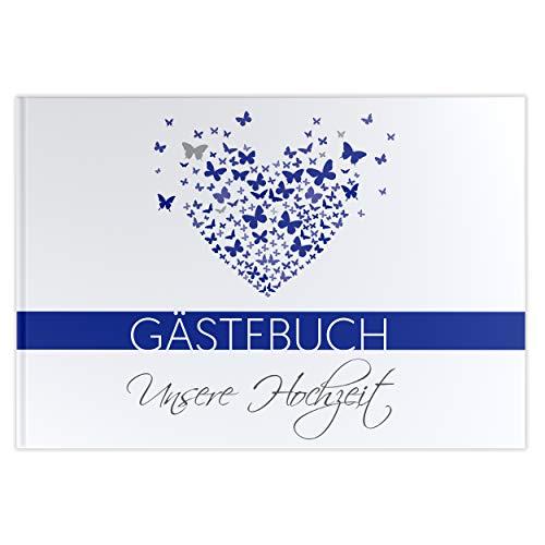 mit Fragen Hochzeitsgästebuch Hochzeitsalbum butterfly heart Hardcover marineblau ()