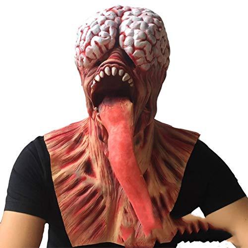 QSAC Halloween Erwachsene Cos Make-up Party Latex Kopfbedeckung enlange Zunge Teufel Zombie Maske Spuk Haus geheime Zimmer - Einfach Zu Hause Teufel Kostüm