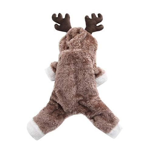 Balacoo Haustier Winter Kostüm Hund Elch Wintermantel Sweatshirt mit Mütze Flanell Mantel Hund süß Kostüm für Weihnachten Hund - Hunde Biber Kostüm