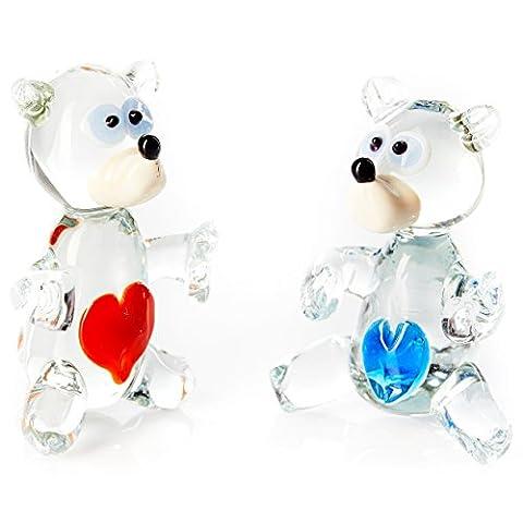 Lot de 2figurines Teddy Bear Loving mignon en verre fabriqué à la main Superbe Ornaments. Ours avec cœurs Rouge et Bleu