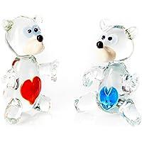 Set di 2 decorazioni in vetro, motivo: Teddy Bear-Statuetta Loving Ornaments. realizzato a mano, motivo: orsetti con cuore, colore: rosso e