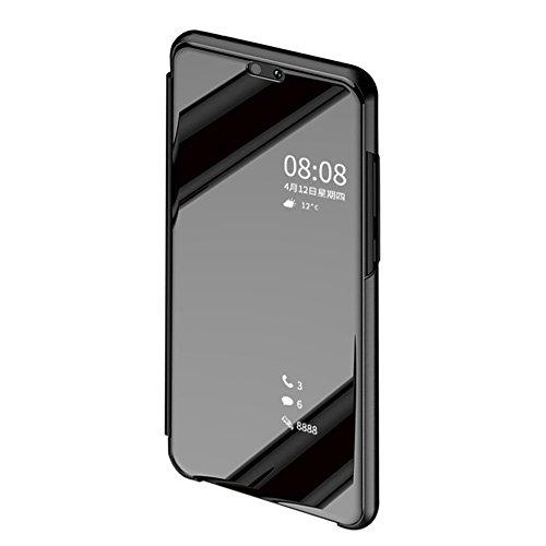 BCIT Xiaomi Redmi S2 Funda - Modelo Inteligente Fecha/Hora Ver Espejo Brillante Tirón del Caso Duro con + Película Protectora de Vidrio Templado para el Xiaomi Redmi S2 - Negro