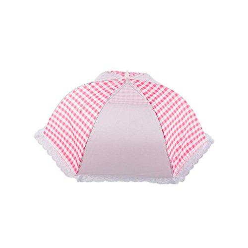 Lembeauty Pliable Parapluie Style Anti Fly Mosquito Table en Maille couvertures de Nourriture extérieur Pique-Nique Nourriture écran Tente dôme, Rose, Taille L