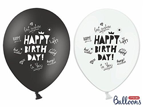 Happy Birthday in schwarz und weiss mit Aufdruck dem Happy Birthday 10 Stück 30cm Durchmesser , 110 cm Umfang , 12 Zoll Heliumgeeignet Ballon Dekoration Geburtstag Party Jahrestag (30. Geburtstag-dekorationen In Schwarz Und Weiß)
