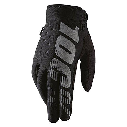 100% Prozent Brisker Handschuhe Soft Shell MTB DH MX Motocross Enduro Offroad Quad, HU-GLO-0007, Farbe Schwarz, Größe L (Downhill-mountain-bike-bremsen)