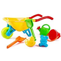 deAO Kids Wheelbarrow Gardening and Seaside Beach Play Set for Outdoor Activities with Accessories including Bucket, Spade, Rake