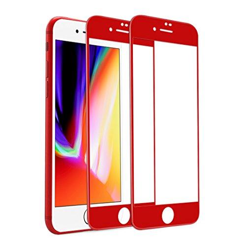 iPhone 7 Plus iPhone 8 Plus Panzerglas Schutzfolie, (2 Stück) Rheshine 3D Vollständige Abdeckung Displayschutzfolie für iPhone 7 Plus iPhone 8 Plus 9H Härte, Anti-Öl, Kratzer und Blasenfrei 3D Touch Kompatibel (Rot / Red) (Laser Red Kit)