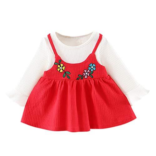 Amoyl Kleinkind Mädchen Kleider Langarm Blumen Druck Fake Zweiteilig Kleider Prinzessin Kleider (Rot, 6-12 Monate)