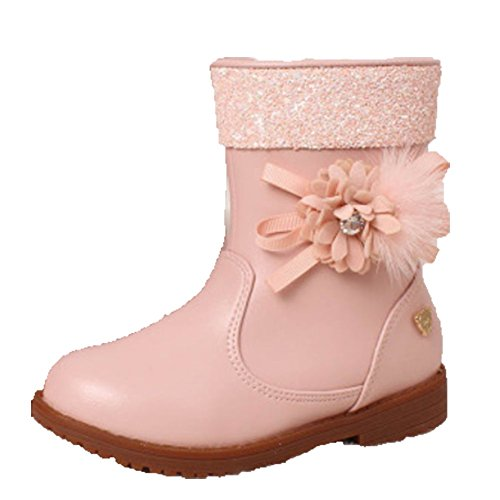 Ohmais Enfants Fille bottes et bottines botte classiques fille petit talons Chaussure pink