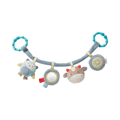 solini Kinderwagenkette Journey aus Stoff - Kinderwagen-Spielzeug mit farbenfrohen Tierfiguren, Rassel, Quietsche & Spiegel - rosa