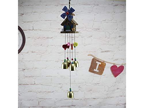 JwlqAy Metallklingel-Wind-Glockenspiel mit Windmühlen-Haus-Haus-Garten-hängendem Dekorations-Wind-Glocken-Bell Innen/im Freien