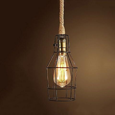 Lond-Qqide Lustre en fer forgé en fer Luminaires suspendus Lustre rétro de la chaise de chanvre de la personnalité créative Bar Cafe Lampe de restaurant lampes industrielles de balcon (Taille: 80 * 10cm) ( Color : Black )