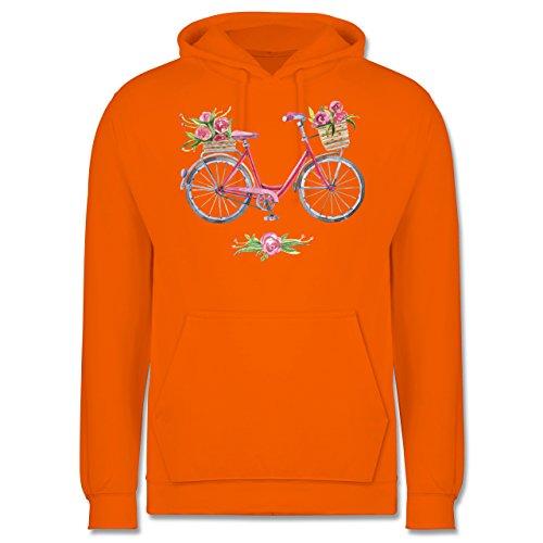 Vintage - Vintage Fahrrad Wasserfarbe Blumen - Männer Premium Kapuzenpullover / Hoodie Orange