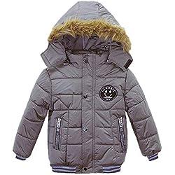 Abrigos Bebé, Chaqueta de invierno acolchada Ropa Abrigo de moda para niños Abrigo grueso de las muchachas de los muchachos 2-5 Años (2 año/ 90 cm, Gris)