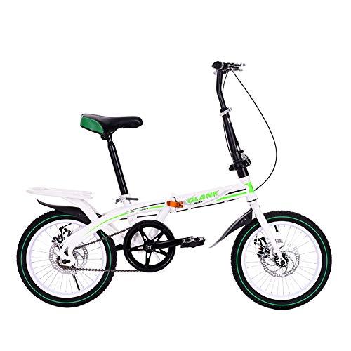 JIE LANG KE Bici Plegable De 16 Pulgadas, Disco De Freno De Las Mujeres Scooter/Mini Bicicleta De Viaje De La Ciudad del Estudiante(Green)