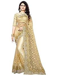 I-Brand Women's Mono Net & Banglory Silk Saree With Blouse Piece (Beige_FreeSize)