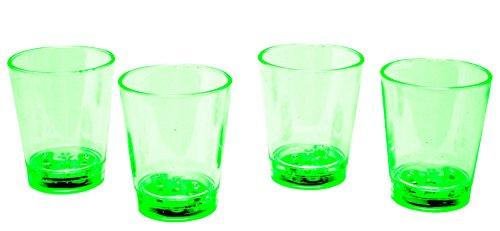 LED-Highlights Glas Becher Schnapsglas 60 ml 4 er Set LED grün Bar Kunststoff Trinkglas mit Batterie