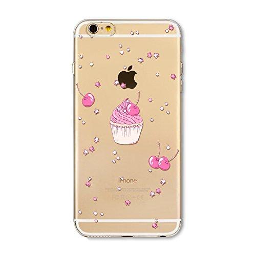 Coque iPhone 7 Housse étui-Case Transparent Liquid Crystal en TPU Silicone Clair,Protection Ultra Mince Premium,Coque Prime pour iPhone 7-Beignet et de la glace-style 17 11