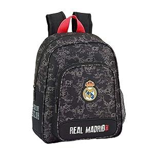 410vjmTlxJL. SS300  - REAL MADRID BLACK Oficial Mochila Escolar Infantil 270x100x330mm