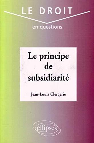 Le principe de subsidiarité PDF Books