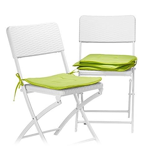 Relaxdays Stuhlkissen 4er Set in Anis, Sitzkissen mit Schleife, Auflage