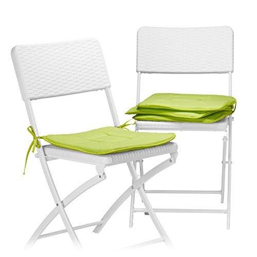 Relaxdays Stuhlkissen 4er Set in Anis, Sitzkissen mit Schleife, Auflage für Stühle in Haus und Garten, waschbar, Stuhlauflage aus Polyester, grün