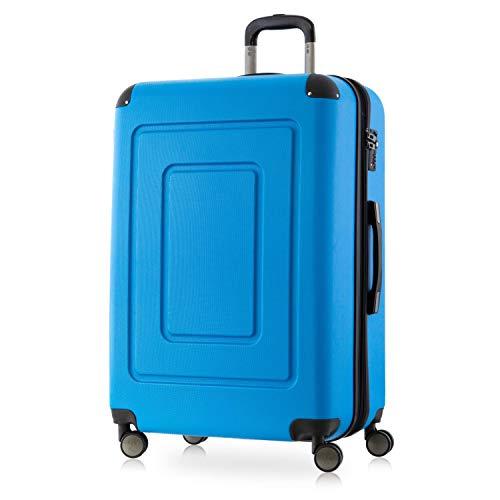 Happy Trolley - Lugano Hartschalen-Koffer Koffer Trolley Rollkoffer Reisekoffer Lugano, sehr leicht + stabil, TSA, 76 cm, 113 Liter, Cyan Blau