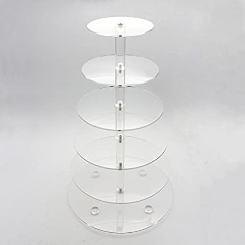 Cadillaps 6 Tier Clear Acrylic Cupcake Stand Wedding Birthday Party