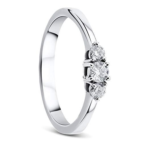 Orovi Damen Diamant Ring Weißgold, Verlobungsring 14 Karat (585) Gold und Diamanten Brillanten 0.25 Ct, Trio Diamant Ring Ring Handgemacht in Italien