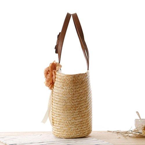 Qotone borsa a tracolla Farmhouse Style Summer Beach Straw fiori borsa di tessuto a mano Rose Army Green