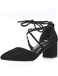 COOLCEPT Mujer Moda Cordones Sandalias Tacon Ancho Punta Abierta Zapatos Fleco (35 EU,Black)