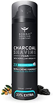 Bombay Shaving Company Charcoal Shaving Foam, 266 ml (33% extra) with Activated Charcoal & Moroccan Argan