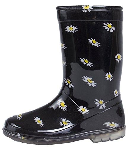 Lora Dora Kinder Jungen Mädchen Mid Kalb Regen Schnee Stiefel Gummistiefel Gummistiefel Wellys Kinder Schuhe Größe UK 5–2, Blau - Daisy Pattern - Größe: 31 EU Kinder