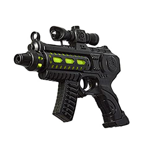 Kids Plastic Toy Police Gun Green Battery Operated Toy