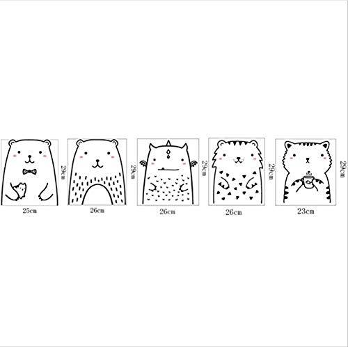 Frecher Katzentüraufkleber Des Niedlichen Bären Kühlschrankaufkleber Bilderrahmen Dekorative Malereiwandbilder